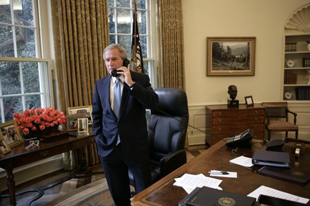 Bush On a Corded Phone
